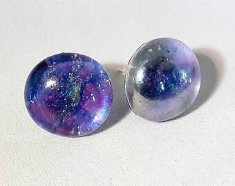 Marbled glass earrings, space earrings, galaxy jewelry, blue glitter earrings, blue studs, blue glass, unique gift for her, purple jewelry