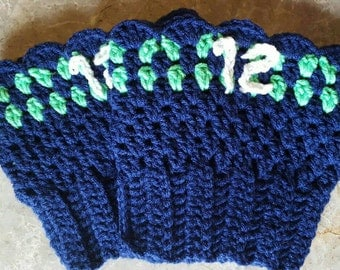 Seahawks 12th man inspired boot cuffs