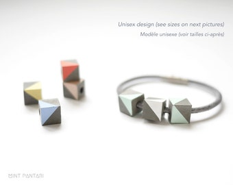 Cement cubes and leather bracelet, couple concrete bracelet, graphical scandinavian style, customized bracelet, pastel mint white coral gift