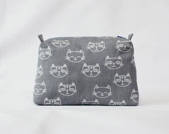 Gray Cat pouch, travel pouch, cosmetic bag,organize supply