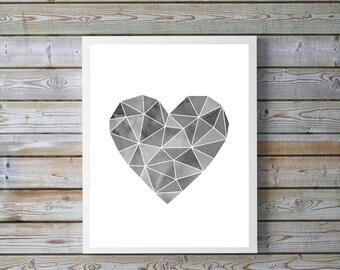 Geometric heart,gray,Modern,Wall art,Heart print,Love, print,printables,gift for women,home,best friends,Heart Modern print,Geometric poster