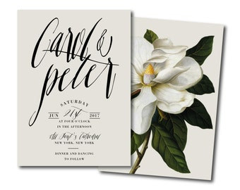 WHITE MAGNOLIA garden Wedding Invitation,southern floral Black & White Striped Printable DIY Invite,botanical classy Invitation,black invite