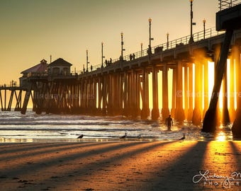 "Huntington Beach Photo | ""Sunbeam Silhouette HB Pier"" 