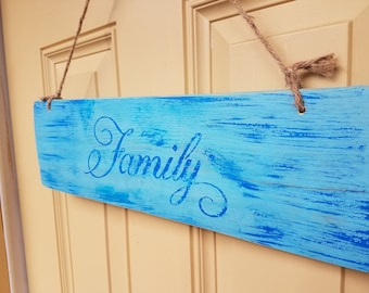 "Weathered sign with ""Family""  hand painted on weathered oak plank. Wall hanging, door hanging."