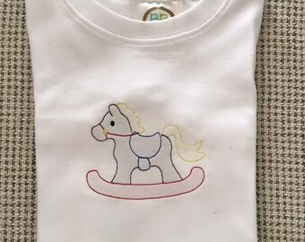 Shadow embroidery rocking horse shirt