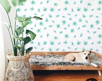 Turquoise myosotis wallpaper || Soft  and elegant wall mural || White, watercolor wallpaper || Self adhesive || Reusable #110