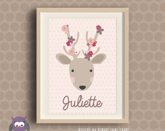 Poster personalized with first name - customizable - deer