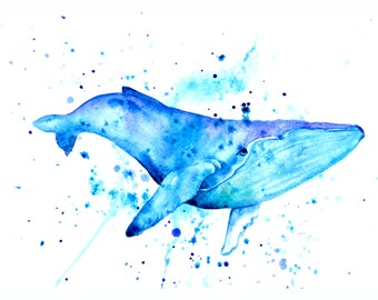 1+1=3! Print Watercolor whale painting, watercolor whale painting, whale, whale painting print, animal watercolor, animals paintings