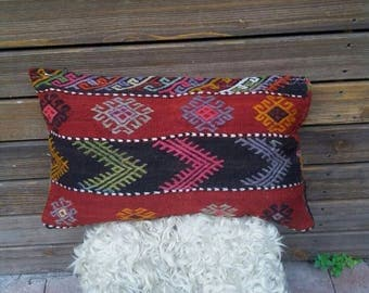 """TURKISH KILIM PILLOW..vintage cecim embroidered, old kilim cover, village made,handmade, 24""""x14"""", 60x36cms, quality stitch,free shipping!!"""