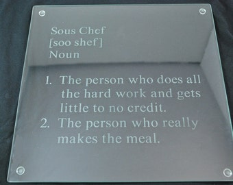 Sous Chef Etched Glass Cutting Board