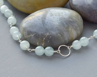 Sterling Silver and Aquamarine Gemstone Karma Necklace