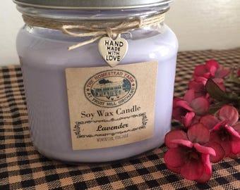 Lavender Soy Wax Candle Handmade Homestead Farm Country Mason Jar