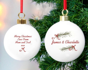 Personalised Christmas Bauble Seasonal Sprig - Any Message Tree Decoration