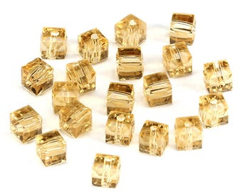 RJ Beads - Package of 10 - 8mm Square Cube Glass Light Topaz Champagne Beads - Free Shipping!!