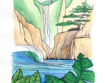 Hand made original water colour painting - Tropical Waterfall