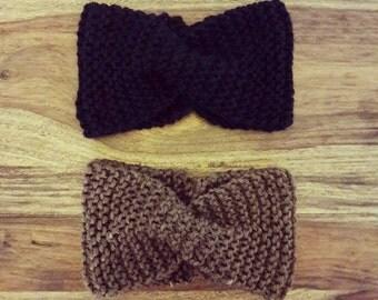 Headband Black Brown Handmade Spring