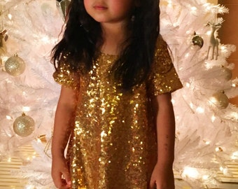 Abby sequins gold dress perfect as a holiday dress, birthday dress, party dress or New Years Eve dress with short sleeves, fully lined.
