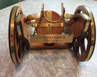 Vintage Courvoisier Wooden/Brass Cannon Shaped Cognac Bottle Holder