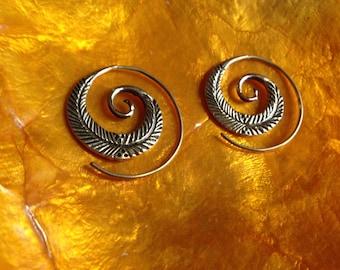 Spiral leaf earrings