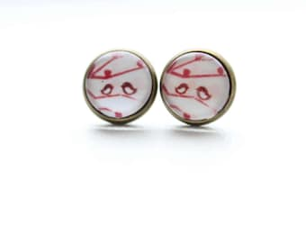 Sweet Bird Stud Earrings 12mm Cabochon