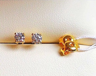 Small size Solid 22k gold 916 gold small size cz stones solitaire earrings earstuds
