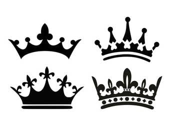 Crown svg, princess crown svg, king crown svg, black and whiite svg, cartoon svg, dxf, cricut, silhouette cutting file, download