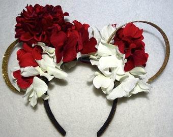 Mickey Mouse Ears Minnie Mouse Headband Flower Gold Headband Christmas