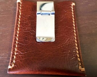 Brown Leather Card Wallet w/ Money Clip