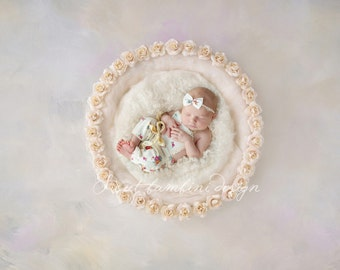 Newborn Digital Prop/Backdrop Photography Cream Rose Basket/Nest - Elizabeth
