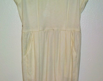 TAURUS II Beige Sleeveless Sheath Dress Size 14  - Vtg 1980's 1990's -