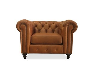 South Cone Home Patrick Chesterfield Italian Leather Chair