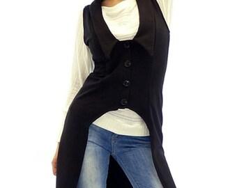 Black vest, Black women vest, Long woman vest, Long vest, Maxi vest, Plus size vest, Woman vest, Vest, Fashion black vest, Trendy vest