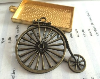 5Pieces /Lot Antique Bronze Plated 52mmx46mm old bicycle Charms