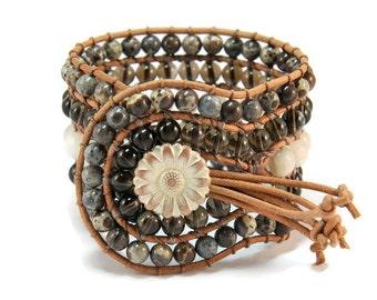 Boho Montana * 5 strand Statement Wrap Bracelet. Boho Style. Bohemian Jewelry. Semiprecious stones. Gift for her. Unique Design.