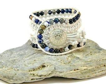Boho Appalachian * 5 strand Statement Bracelet. Boho Style. Bohemian Jewelry. Semiprecious stones. Gift for her. Unique Design.