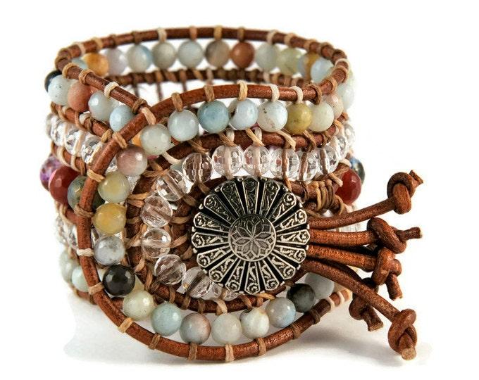 Boho Gitana * 5 strand Statement Wrap Bracelet. Boho Style. Bohemian Jewelry. Semiprecious stones. Gift for her. Unique Design.