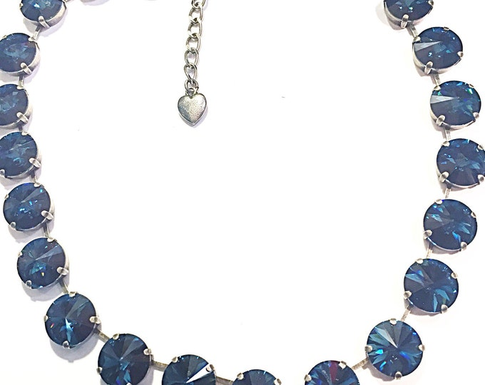 "Shades of bohemian blue sapphire statement ""something blue,"" Swarovski crystal collar necklace. Wedding jewelry for brides!"