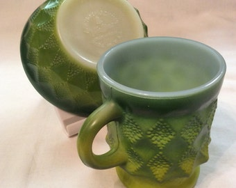 Vintage Anchor Hocking Fire King Green Ombre Mug and Bowl/ U.S.A.