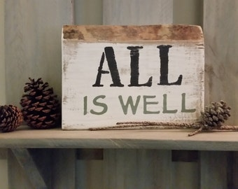 Wooden signs with inspirational sayings and Whitewashed Farmhouse look.