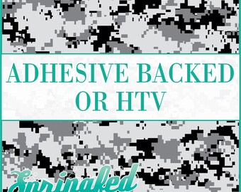 Digital Camo Pattern in Black & Grey Adhesive Vinyl or HTV Heat Transfer Vinyl for Shirts Crafts and More!