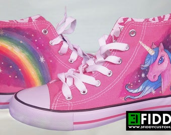 """Unique  """"Pink Unicorn """" Design - Made to Order  -  Hand Painted Sneakers Trainers from 3Fiddy!"""