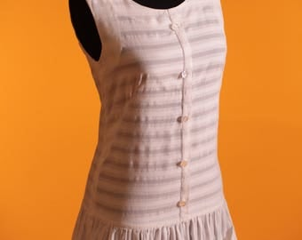 Vintage 1960's White Cotton Tennis / Mini Dress 'Centre Court by Perfit'. Made in England. UK 6 US 2.