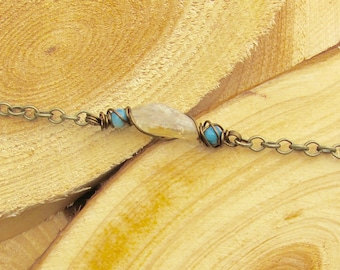 Hand-Wrapped 3 Bead Citrine and Blue Shell Chain Bracelet