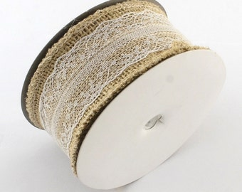 2 meters of jute Ribbon scrapbooking 5 cm decoration LACE WHITE III