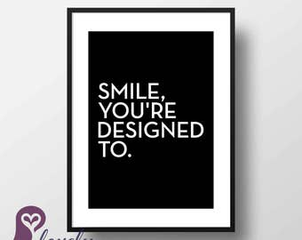 Smile Poster | Typography | Quote | Inspirational | Wall Art | Wall Decor | Home Decor | Prints | Poster | Digital Paper | Digital Download