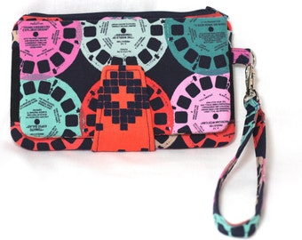 View Master Pearl Clutch Wallet, Swoon, Wristlet, Wallet, Phone Wallet, Gifts for Her, Cotton and Steel