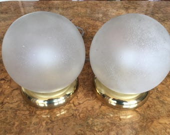 Pair 1970s Murano Globe Table Lamps Glamorous Hollywood Regency