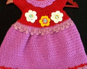 Party Girl Hand Crochet baby dress 9-12 months