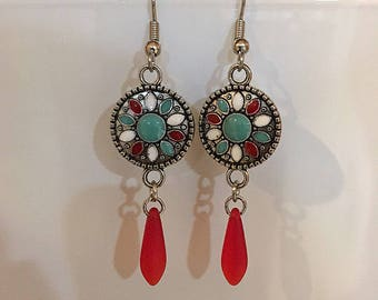 Red, Teal, And White Flower And Red Drop Earrings