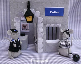 Police Station with Thief and Police Mouse - PDF pattern - instand downloaf